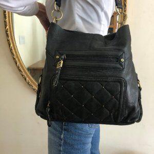 Stone mountain large black leather purse organizer